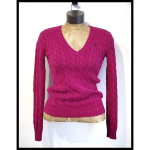 Ralph Lauren Sport Berry Pink Cable Knit Sweater S